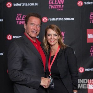 Lisa B with Arnold Schwarzenegger